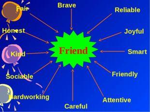 Friend Honest Kind Hardworking Careful Joyful Smart Sociable Attentive Friend