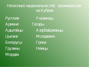 Несколько национальностей, проживающих на Кубани Русские Украинцы Армяне