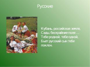 Русские Кубань, российская земля, Сады, бескрайние поля … Тебе родной, тебе о
