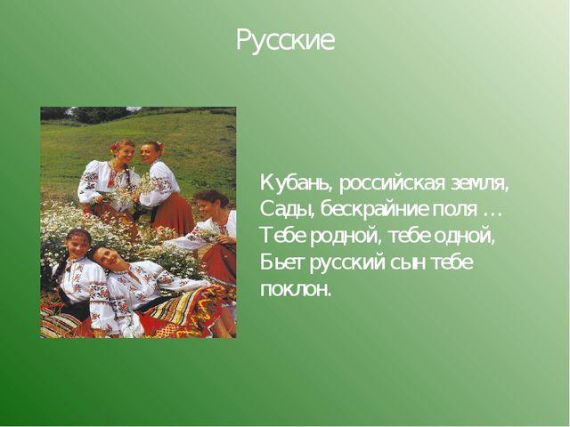 Русские Кубань, российская земля, Сады, бескрайние поля … Тебе родной, тебе о...