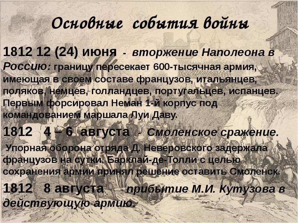 Основные события войны 1812 12 (24) июня - вторжение Наполеона в Россию: гра...