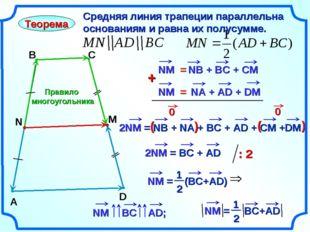 Правило многоугольника Теорема Средняя линия трапеции параллельна основаниям