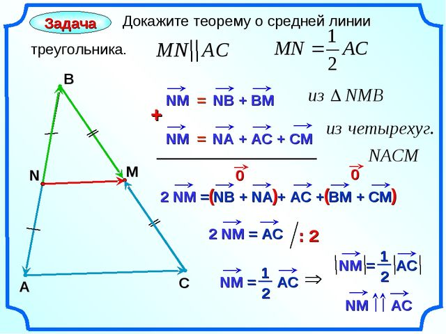 A Задача Докажите теорему о средней линии треугольника. В С N M