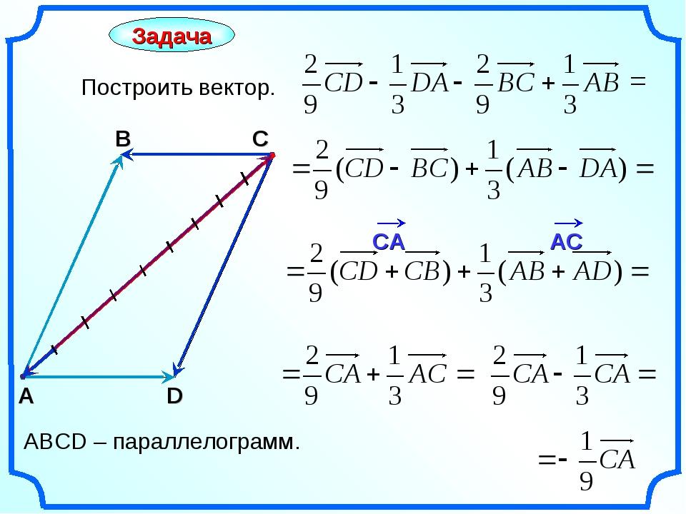 Задача Построить вектор. С А В = АВСD – параллелограмм. D