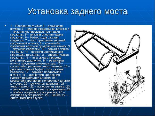 Установка заднего моста 1 – Распорная втулка; 2 – резиновая втулка; 3 – нижня...