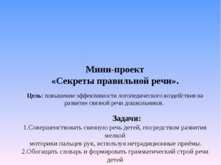 Мини-проект «Секреты правильной речи». Цель: повышение эффективности логопеди