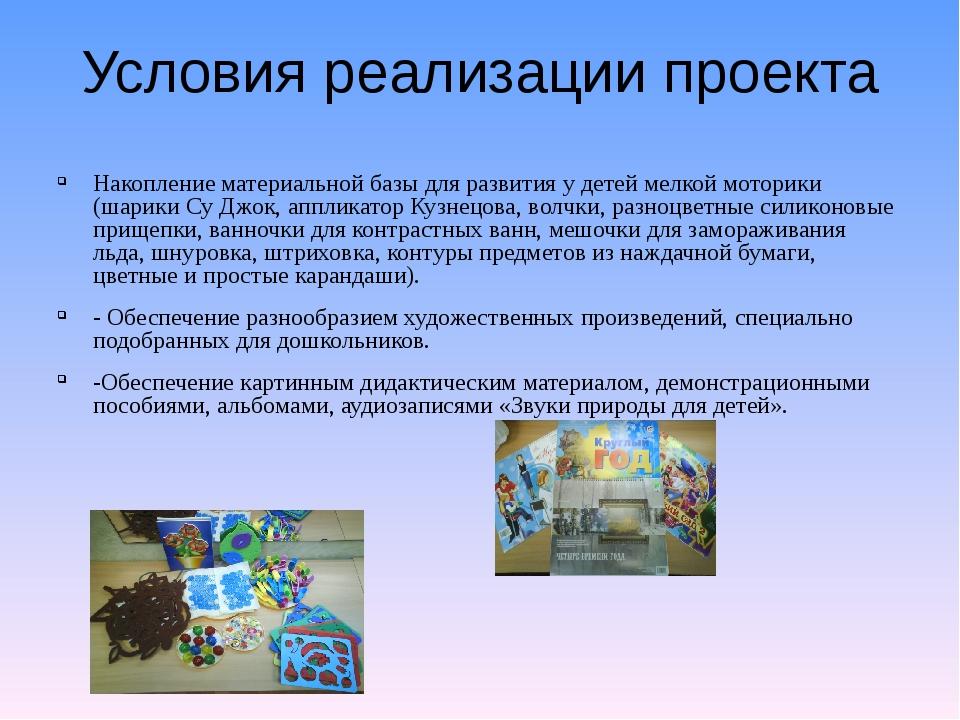 Условия реализации проекта Накопление материальной базы для развития у детей...