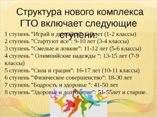 """Структура нового комплекса ГТО включает следующие ступени: 1 ступень """"Играй"""