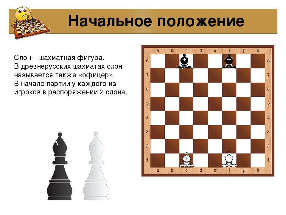 Начальное положение Слон – шахматная фигура. В древнерусских шахматах слон н...