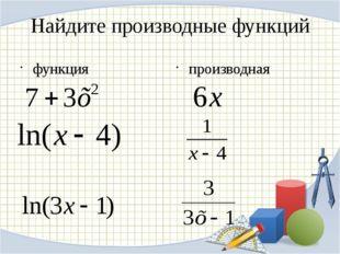 Найдите производные функций функция производная
