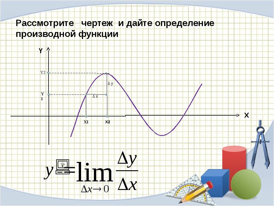 Δ x Δ y X1 X2 Y1 Y2 X Y Рассмотрите чертеж и дайте определение производной ф...