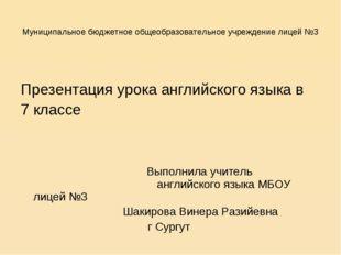 Муниципальное бюджетное общеобразовательное учреждение лицей №3 Презентация у
