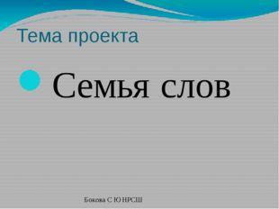 Тема проекта Семья слов Бокова С Ю НРСШ