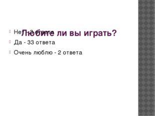 Любите ли вы играть? Нет - 3 ответа Да - 33 ответа Очень люблю - 2 ответа