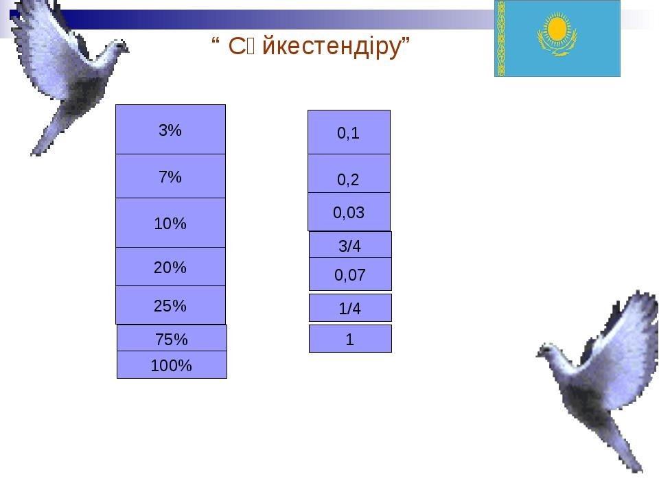 """"""" Сәйкестендіру"""" 3% 7% 10% 20% 25% 75% 100% 0,1 0,2 0,03 3/4 0,07 1/4 1"""