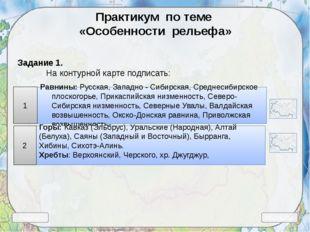Выход Ресурсы Практикум по теме «Особенности рельефа» Задание 1. На контурно