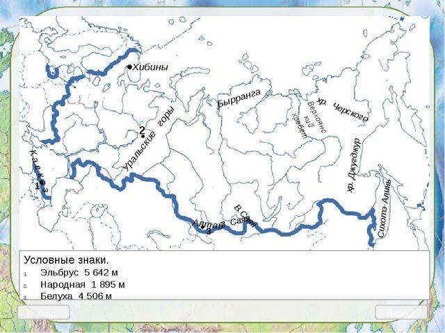 Выход Назад 1 Условные знаки. Прикаспийская низменность Северные Увалы Валда...