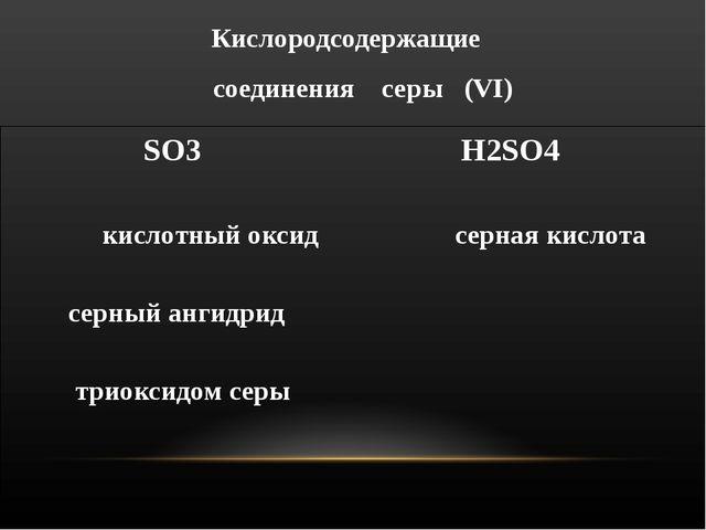 Кислородсодержащие соединения серы (VΙ) SO3 H2SO4 кислотный оксид серная кисл...