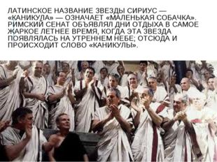 ЛАТИНСКОЕ НАЗВАНИЕ ЗВЕЗДЫ СИРИУС — «КАНИКУЛА» — ОЗНАЧАЕТ «МАЛЕНЬКАЯ СОБАЧКА».