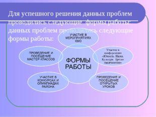 Для успешного решения данных проблем проводились следующие формы работы: данн