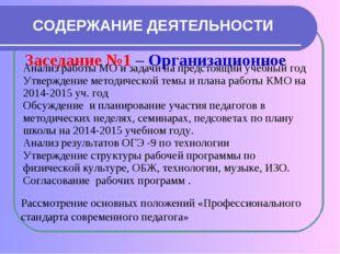 СОДЕРЖАНИЕ ДЕЯТЕЛЬНОСТИ Заседание №1 – Организационное Рассмотрение основных