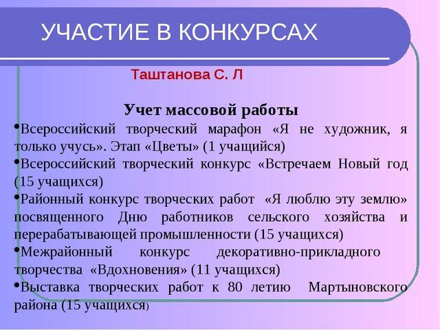 УЧАСТИЕ В КОНКУРСАХ Учет массовой работы Всероссийский творческий марафон «Я...