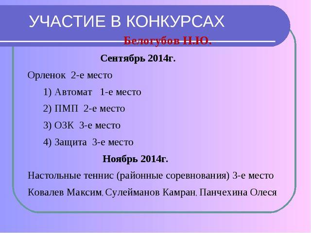 УЧАСТИЕ В КОНКУРСАХ Белогубов Н.Ю. Сентябрь 2014г. Орленок 2-е место 1) Автом...