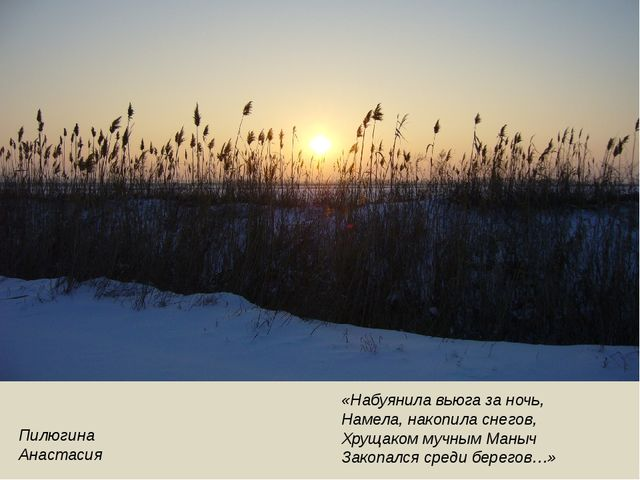 Пилюгина Анастасия «Набуянила вьюга за ночь, Намела, накопила снегов, Хрущако...