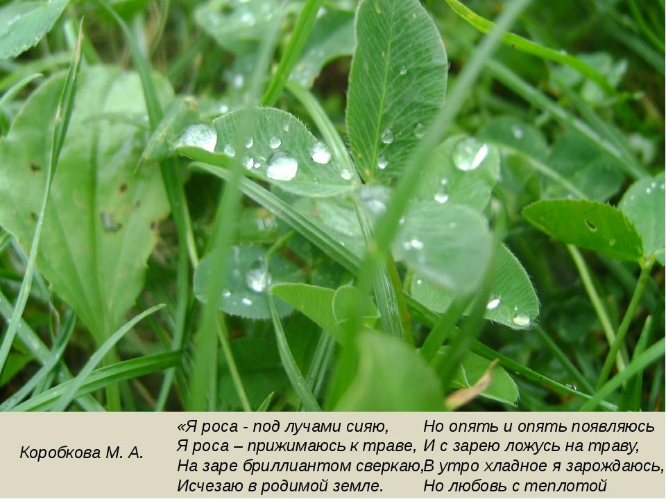 Коробкова М. А. «Я роса - под лучами сияю, Я роса – прижимаюсь к траве, На за...