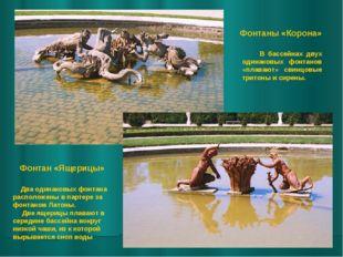 Фонтан «Ящерицы» Фонтаны «Корона» Два одинаковых фонтана расположены в партер