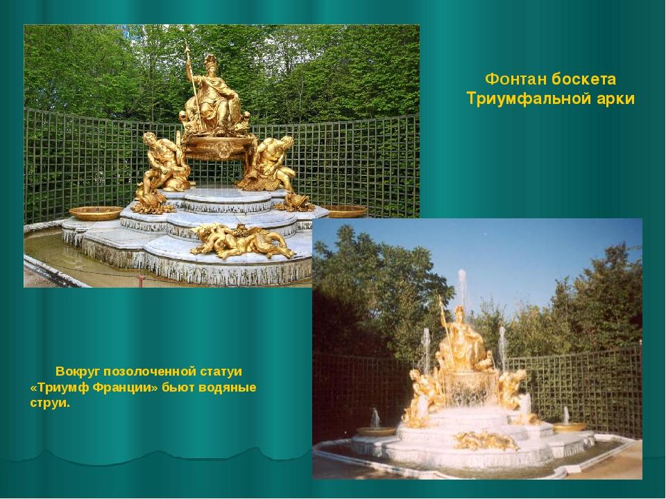 Фонтан боскета Триумфальной арки Вокруг позолоченной статуи «Триумф Франции»...