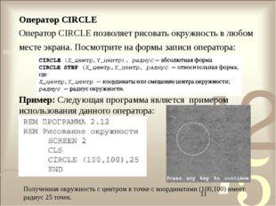Оператор CIRCLE Оператор CIRCLE позволяет рисовать окружность в любом месте э