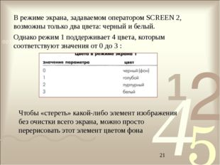 В режиме экрана, задаваемом оператором SCREEN 2, возможны только два цвета: ч