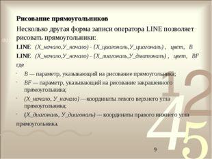 Рисование прямоугольников Несколько другая форма записи оператора LINE позвол