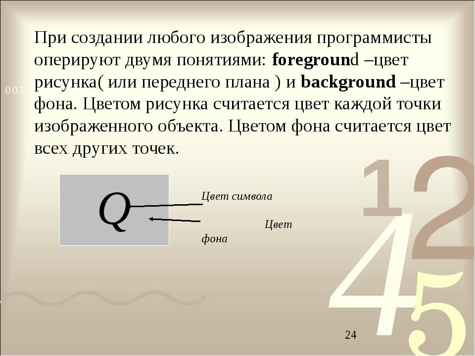 При создании любого изображения программисты оперируют двумя понятиями: foreg...