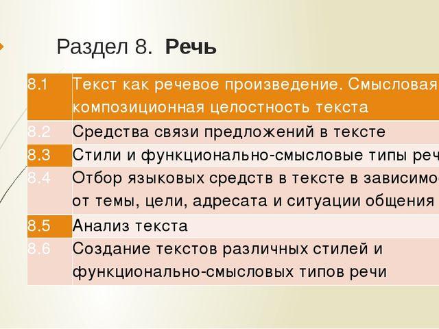 Раздел 8.Речь 8.1 Текст как речевое произведение. Смысловая и композиционна...