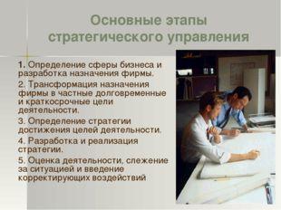 Основные этапы стратегического управления 1. Определение сферы бизнеса и разр