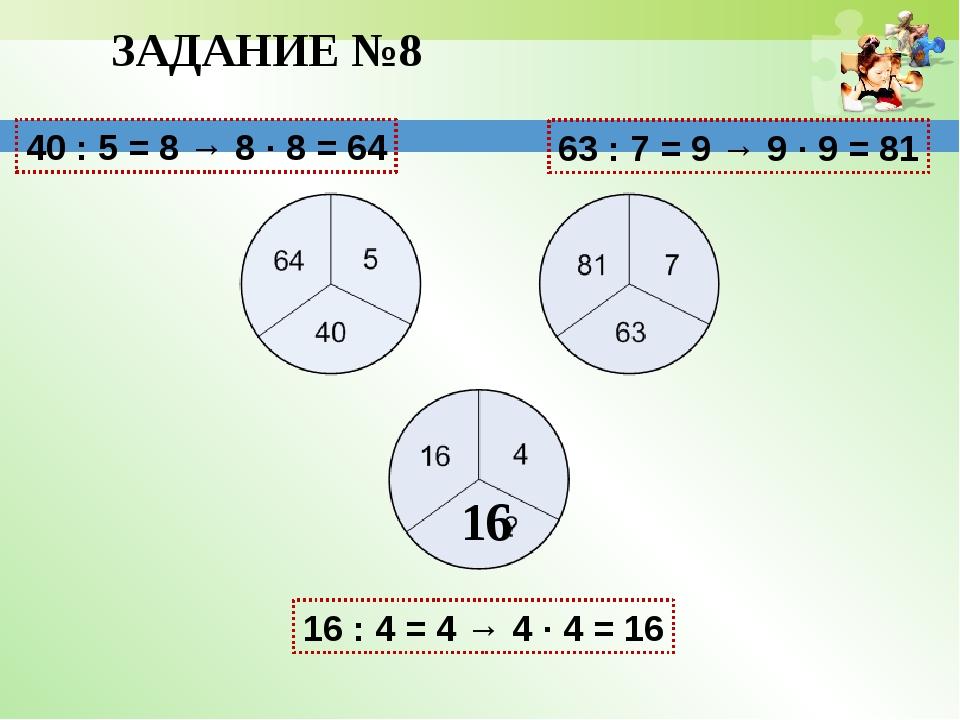 16 ЗАДАНИЕ №8 40 : 5 = 8 → 8 ∙ 8 = 64 63 : 7 = 9 → 9 ∙ 9 = 81 16 : 4 = 4 → 4...
