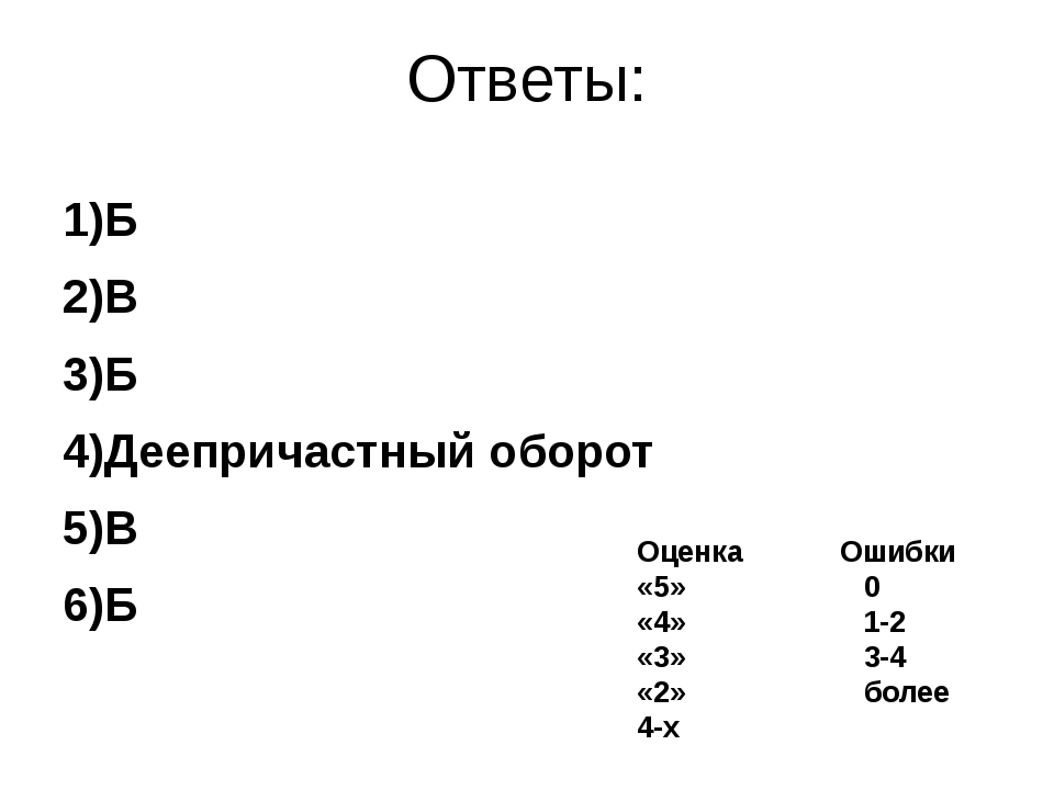 Ответы: 1)Б 2)В 3)Б 4)Деепричастный оборот 5)В 6)Б Оценка Ошибки «5» 0 «4» 1-...