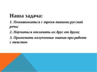 Наша задача: 1. Познакомиться с тремя типами русской речи; 2. Научиться отлич
