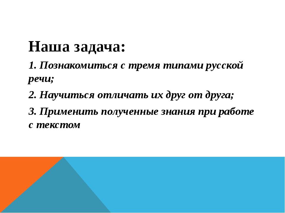 Наша задача: 1. Познакомиться с тремя типами русской речи; 2. Научиться отлич...