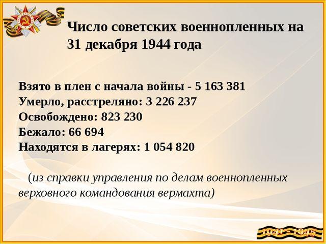 Число советских военнопленных на 31 декабря 1944 года Взято в плен с начала в...