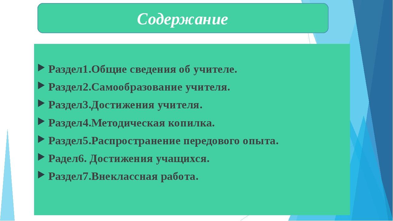 Раздел1.Общие сведения об учителе. Раздел2.Самообразование учителя. Раздел3....