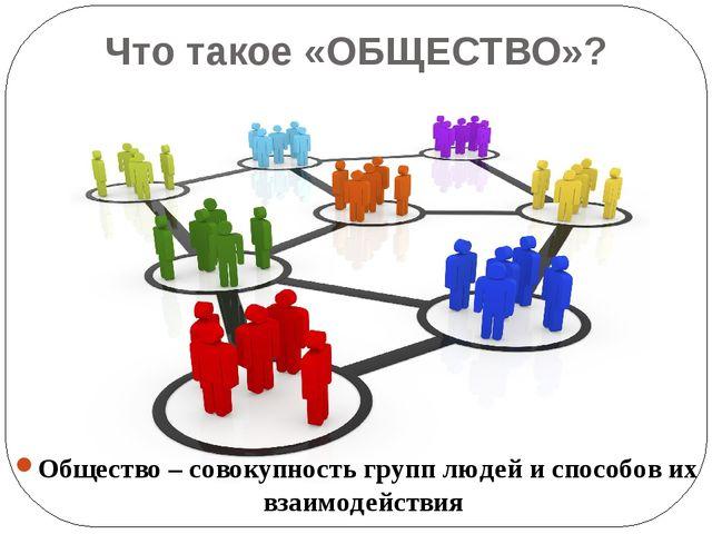 Что такое «ОБЩЕСТВО»? Общество – совокупность групп людей и способов их взаим...