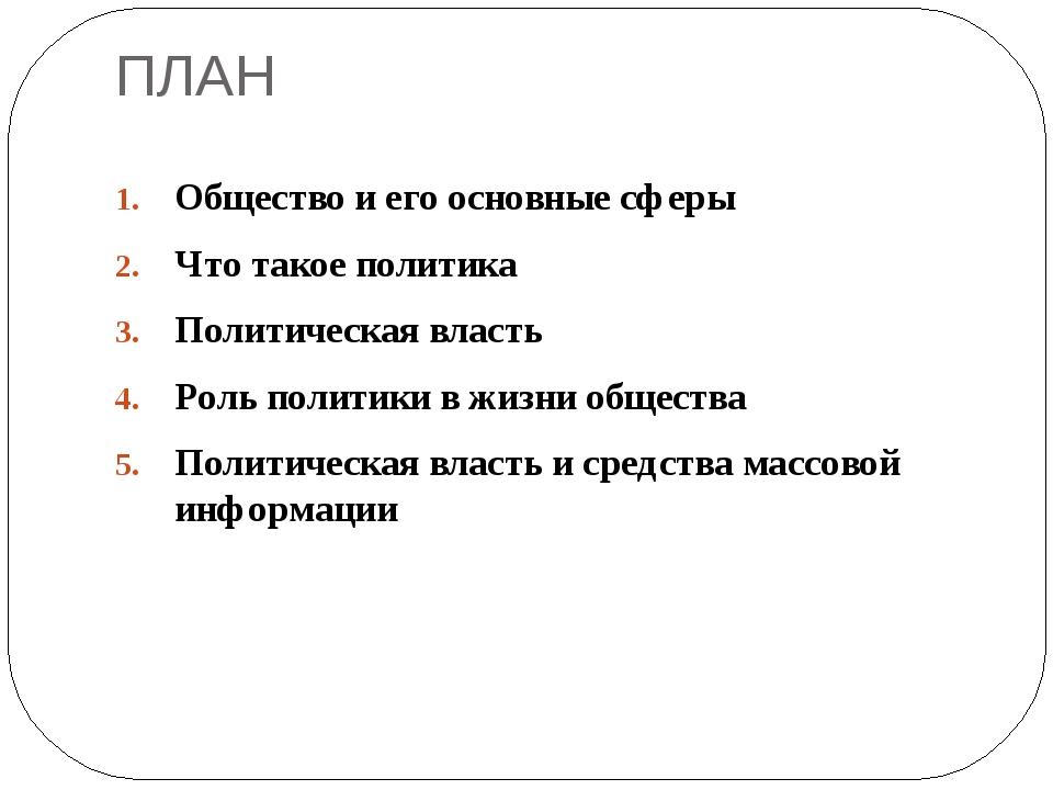 ПЛАН Общество и его основные сферы Что такое политика Политическая власть Рол...
