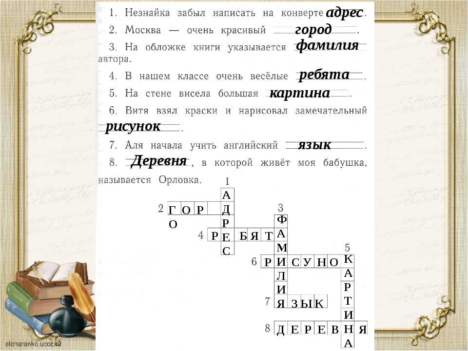 Словарная работа стр. 83 № 36 адрес город фамилия ребята картина рисунок язык...