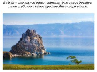 Байкал – уникальное озеро планеты. Это самое древнее, самое глубокое и самое