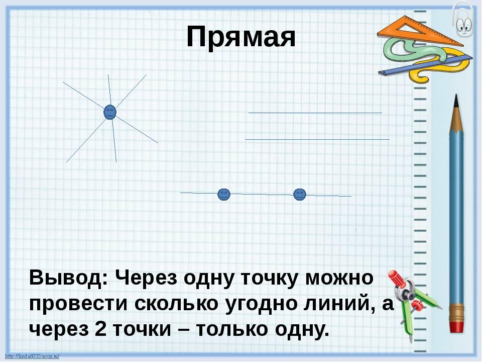 Прямая Вывод: Через одну точку можно провести сколько угодно линий, а через 2...