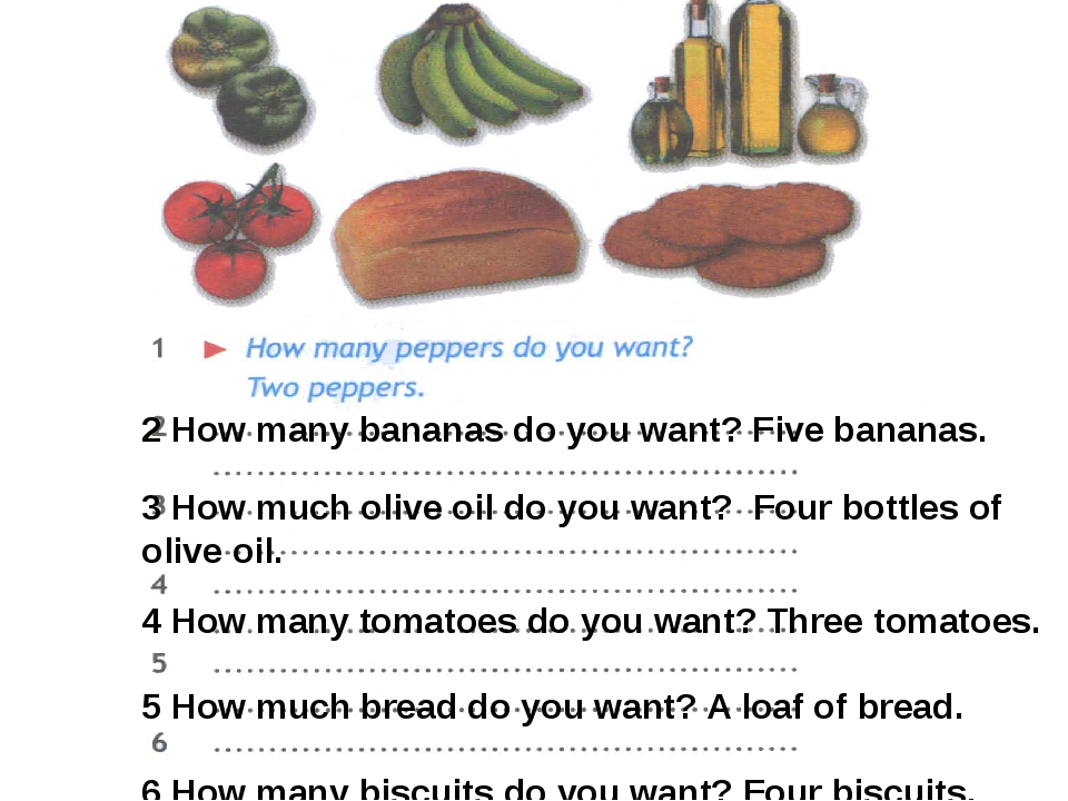 2 How many bananas do you want? Five bananas. 3 How much olive oil do you wan...