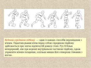Ведення серединою підйому — один із важких способів переміщення з м'ячем. Під